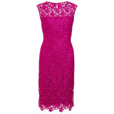 Gina Bacconi Swirl Flower Guipure Dress, Pink