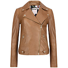 Buy Ted Baker Preeya Leather Biker Jacket, Tan Online at johnlewis.com
