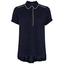 Buy French Connection Natalie Polo Shirt, Utility Blue Online at johnlewis.com