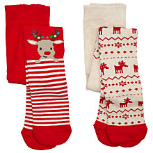 Buy John Lewis Baby's Reindeer Tights, Pack of 2, Red/Beige Online at johnlewis.com