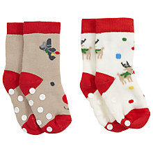 Buy John Lewis Baby's Reindeer Terri Socks, Pack of 2, Red Online at johnlewis.com