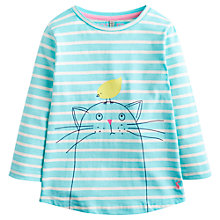 Buy Little Joule Girls' Cat and Bird Long Sleeve Top, Aqua Online at johnlewis.com
