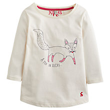 Buy Little Joule Girls' Fox in Socks Long Sleeve Top, Cream Online at johnlewis.com