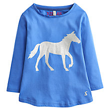 Buy Little Joule Girls' Glitter Horse Print Long Sleeve Top, Blue Online at johnlewis.com