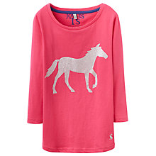 Buy Little Joule Girls' Jersey Glitter Horse T-Shirt, Cerise/Glitter Online at johnlewis.com