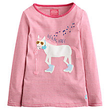 Buy Little Joule Girls' Rocking Horse Stripe Top, Pink Online at johnlewis.com