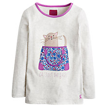 Buy Little Joule Girls' Cats Out Of The Bag Long Sleeve Top, Grey Online at johnlewis.com