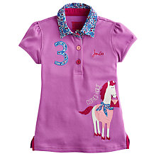 Buy Little Joule Girls Clothes Horse Polo Shirt, Mauve Online at johnlewis.com