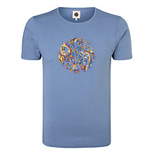 Buy Pretty Green Paisley Logo T-Shirt, Mid Blue Online at johnlewis.com