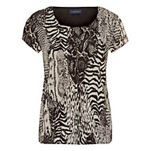 Buy Viyella Animal Print Crinkle Top, Bitter Chocolate Online at johnlewis.com
