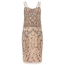 Buy Phase Eight Ciara Embellished Dress, Champagne / Silver Online at johnlewis.com