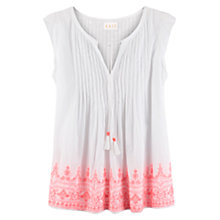Buy East Embroidered Cotton Top, Flamingo Online at johnlewis.com