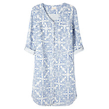 Buy East Linen Paisley Tile Pocket Dress, White Online at johnlewis.com