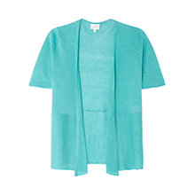 Buy East Linen Short Sleeve Cardigan, Kingfisher Online at johnlewis.com