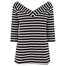 Buy Warehouse Stripe Bardot Top, Black/White Online at johnlewis.com
