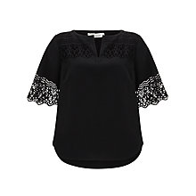 Buy Somerset by Alice Temperley Laser Cut Top, Black Online at johnlewis.com