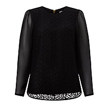 Buy John Lewis Pietra Lace Front Blouse, Black Online at johnlewis.com