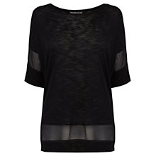 Buy Warehouse Chiffon Insert Square T-shirt, Black Online at johnlewis.com
