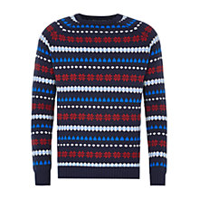 Buy HYMN Javier Fair Isle Christmas Jumper, Blue Online at johnlewis.com