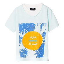 Buy Mango Kids Boys' So Far So Good Double Neck T-Shirt, Mint Green Online at johnlewis.com