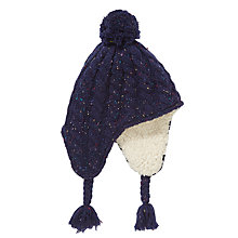 Buy John Lewis Children's Fleck Knit Trapper, Navy Online at johnlewis.com