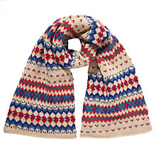 Buy John Lewis Fairisle Scarf, Cream/Blue Online at johnlewis.com