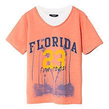 Buy Mango Kids Boys' Florida Double Neck T-Shirt, Pastel Orange Online at johnlewis.com