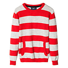 Buy Mango Kids Boys' Patch Striped Jumper, Red Online at johnlewis.com