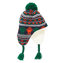 Buy John Lewis Robot Intarsia Knit Trapper Hat, Navy Online at johnlewis.com