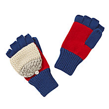 Buy John Lewis Boy Texture Stripe Flip Top Gloves, Red/Blue Online at johnlewis.com