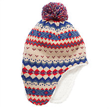 Buy John Lewis Fairisle Trapper Hat, Biscuit Online at johnlewis.com