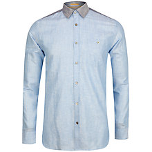 Buy Ted Baker Linbloc Linen Cotton Shirt, Blue Online at johnlewis.com