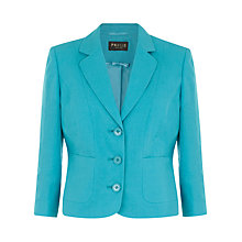 Buy Precis Petite Bright Linen Jacket, Aqua Online at johnlewis.com