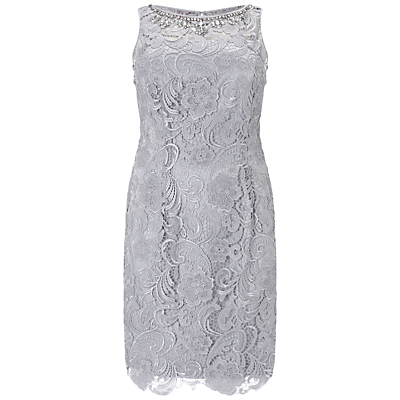Adrianna Papell Plus Size Sleeveless Lace Dress, Light Dove