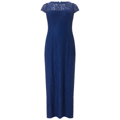 Adrianna Papell Plus Size Long Lace Dress, Prussian Blue