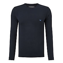 Buy Emporio Armani Stretch Cotton Long Sleeve T-Shirt, Navy Online at johnlewis.com