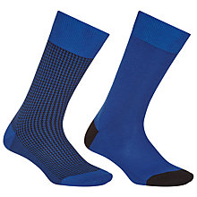 Buy John Lewis Egyptian Cotton Check Socks, Pack of 2, Cobalt Online at johnlewis.com