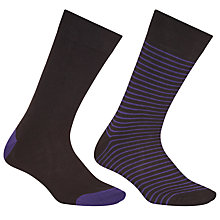 Buy John Lewis Egyptian Cotton Stripe Socks, Pack of 2, Black/Purple Online at johnlewis.com