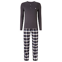 Buy Emporio Armani Check PJ Set, Blue Online at johnlewis.com