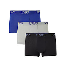 Buy Emporio Armani Cotton Stretch Trunks, Pack of 3, Blue/Grey/Black Online at johnlewis.com