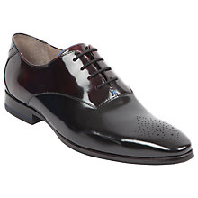 Buy Sweeney London Hi-Shine Leather Oxford Shoes, Black/Burgundy Online at johnlewis.com