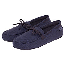 Buy Totes Diamond Pattern Moccasin Slippers, Navy Online at johnlewis.com