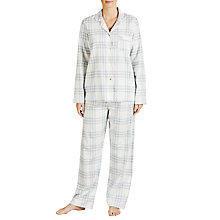 Buy John Lewis Soft Check Pyjama Set, Grey/Pink Online at johnlewis.com