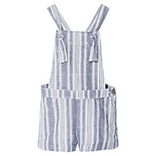 Buy Mango Kids Girls' Linen Blend Stripe Dungarees, Navy Online at johnlewis.com