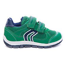 Buy Geox Shaax Rip-Tape Trainers, Green/Navy Online at johnlewis.com