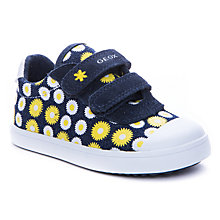 Buy Geox Kiwi Daisy Rip-Tape Shoes, Navy/Yellow Online at johnlewis.com