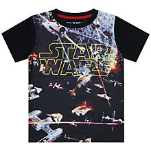 Buy John Lewis Boy Star Wars Spaceship Short Sleeve T-Shirt, Black Online at johnlewis.com