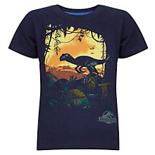 Buy John Lewis Boy Jurassic World Short Sleeve Dino T-Shirt, Navy Online at johnlewis.com