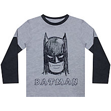 Buy John Lewis Boy Batman Mask Sketch Mock Long Sleeve T-Shirt, Grey Online at johnlewis.com