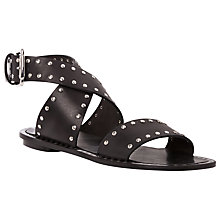 Buy Dune Black Lexxie Leather Studded Gladiator Sandals Online at johnlewis.com